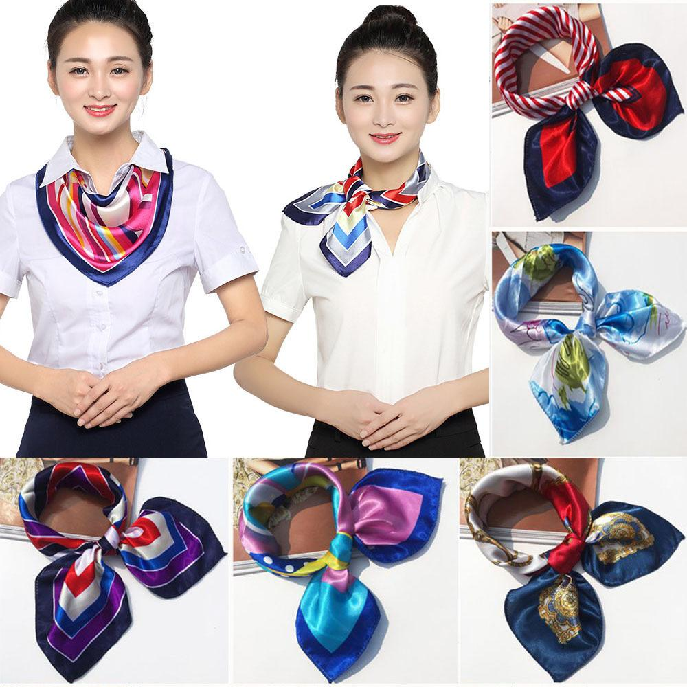 2018 New 50*50CM Small Soft Silk Scarf Women For Flight Attendant Fashion Bandana Women Head Scarf Elegant Shawl Scarfs C19011001