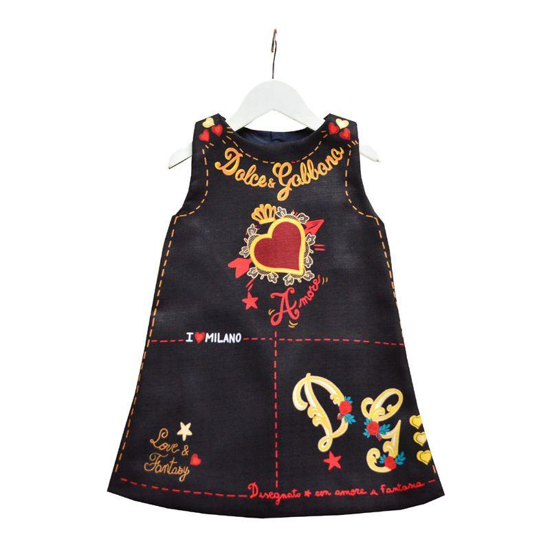 2020 Brand Princess Dresses for Girls Letter Print Round Neck Kids Dress Children Valentine's Day Love Heart Printed designer clothes