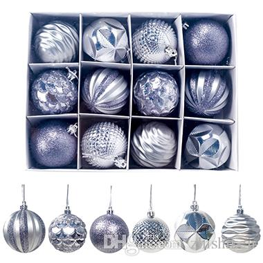 Set de 64 Arbre de Noël Boules de Noël boules Ornements Décoration 6 cm argent//bleu nouveau