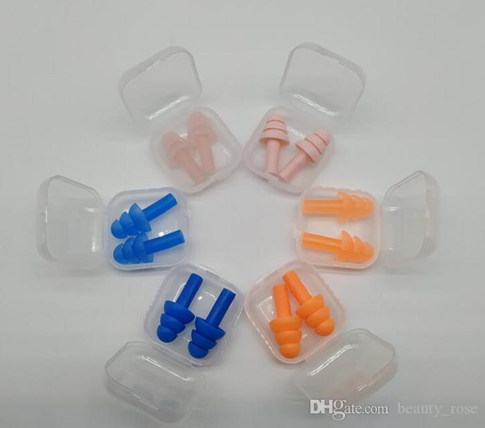 Silicona Tapones para los oídos Nadadores suaves y flexibles Tapones para los oídos para dormir durmiendo reducen el ruido Tapón para los oídos 8 colores DHL Free