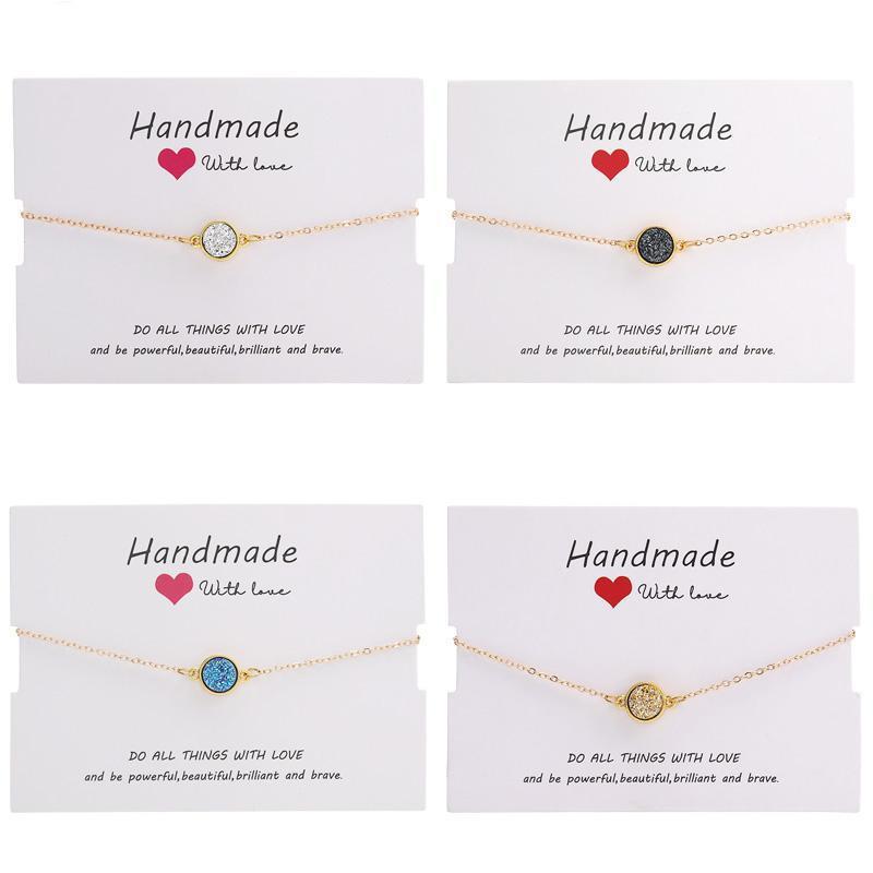 Ручной работы Кристалл круглый смолы Druzy браслет красочные натуральный камень браслеты браслеты для женщин золото Дружбы ювелирные изделия подарок с картой