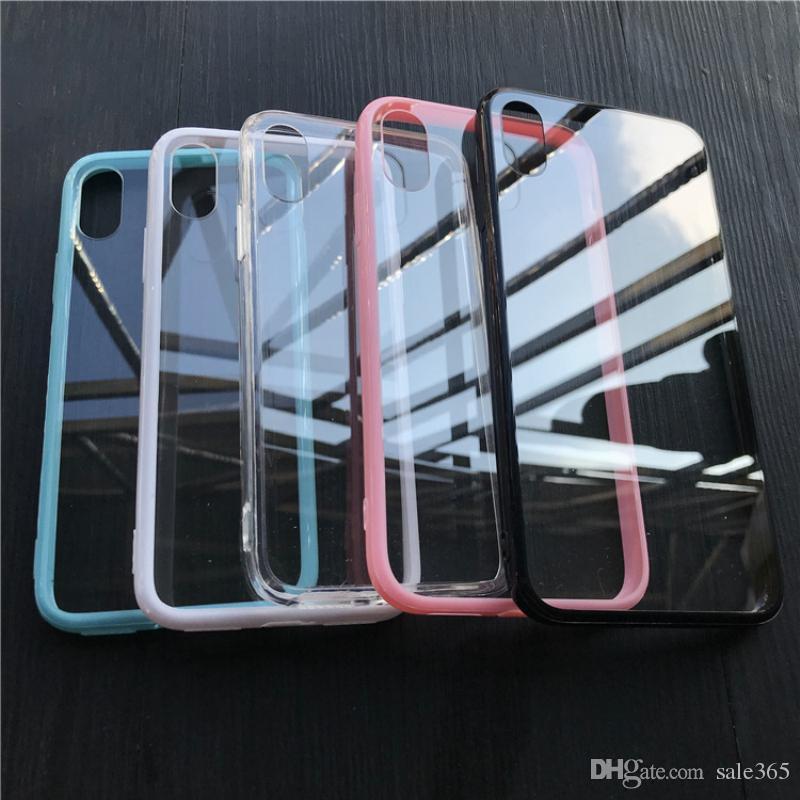 Clear Hard Back Jelly Bumper Frame Funda a prueba de polvo para iphone 7 8 Plus 6 6S X Xs Max Xr 5 5S SE