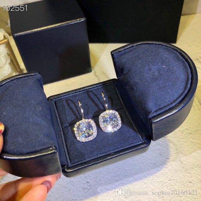 여성 웨딩 보석 럭셔리 다이아몬드 링크 클래식 디자이너 S925 스털링 실버 큰 광장 지르콘 매력 드롭 귀걸이