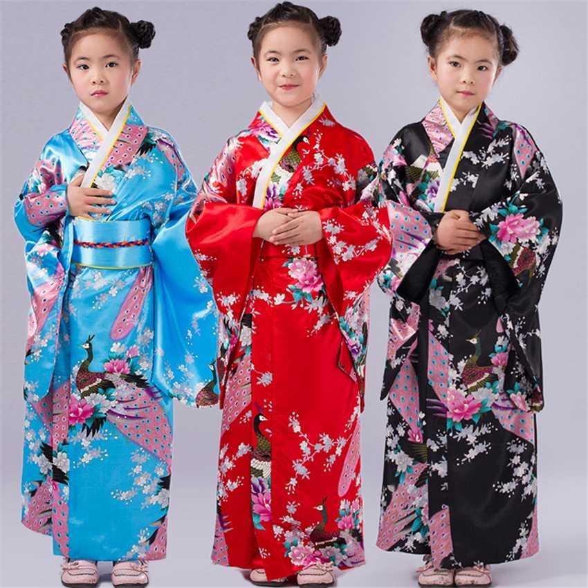 Disfraces 110-150cm muchachas de los niños japoneses tradicionales del vestido del kimono con Obi Baño yukata para Niños Niñas desgaste de la danza
