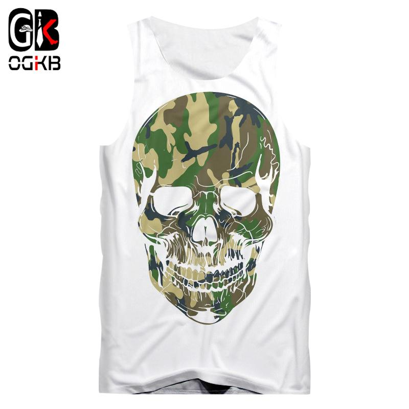 OGKB New Sumer Tops Women/men Cool Print Camouflage 3d Vest Skull Tank Top Man Gyms Clothes Hiphop High Street Sleeveless Shirts