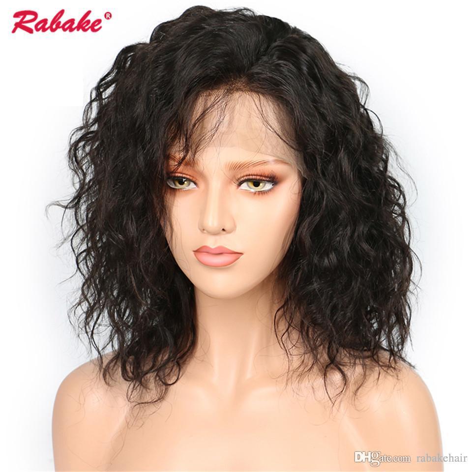 Parrucca anteriore del merletto dell'onda naturale brasiliana di Remy Virgin Rabake 4x4 superiore di seta Breve Bob Pixie umano Parrucca anteriore del merletto Parrucche naturali