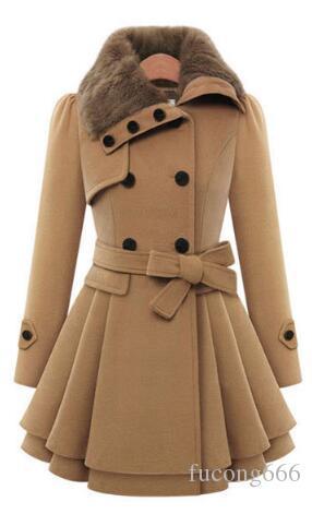 Freies Verschiffen neue europäische und amerikanische Frauen nehmen langen warmen warmen wollenen Mantel zweireihiger starker Mantel + Gürtel ab