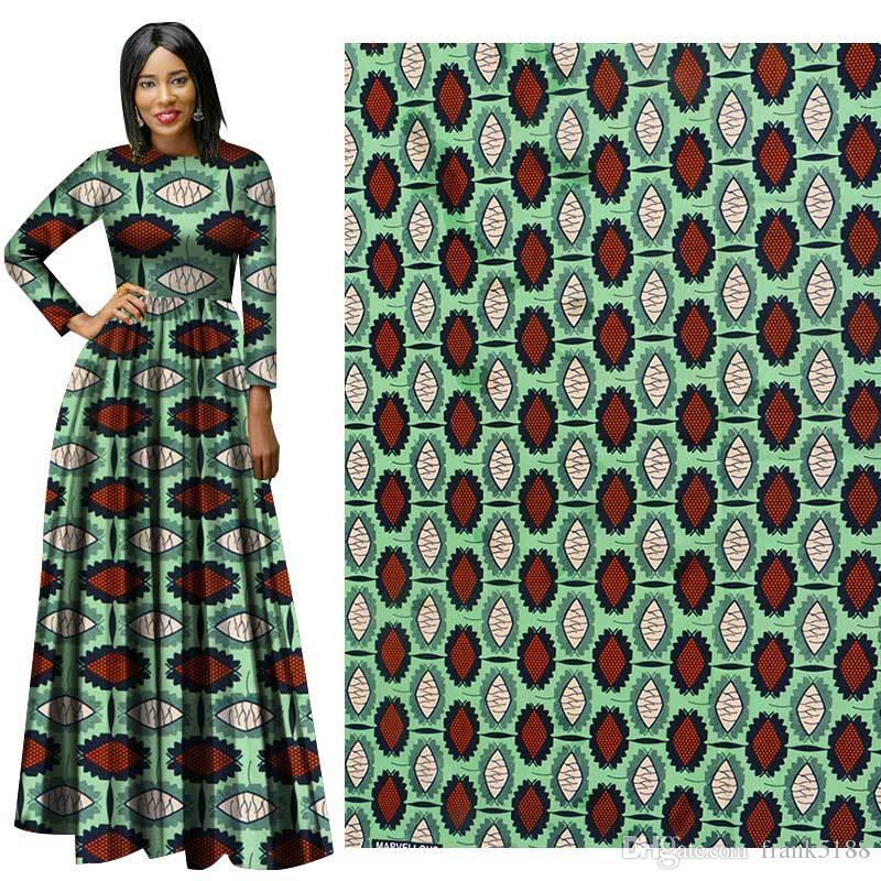 tela impresa traje de vestir de alta calidad trajes nacionales costumbre africana cian patrón de estampado geométrico de poliéster tela hecha a mano de bricolaje