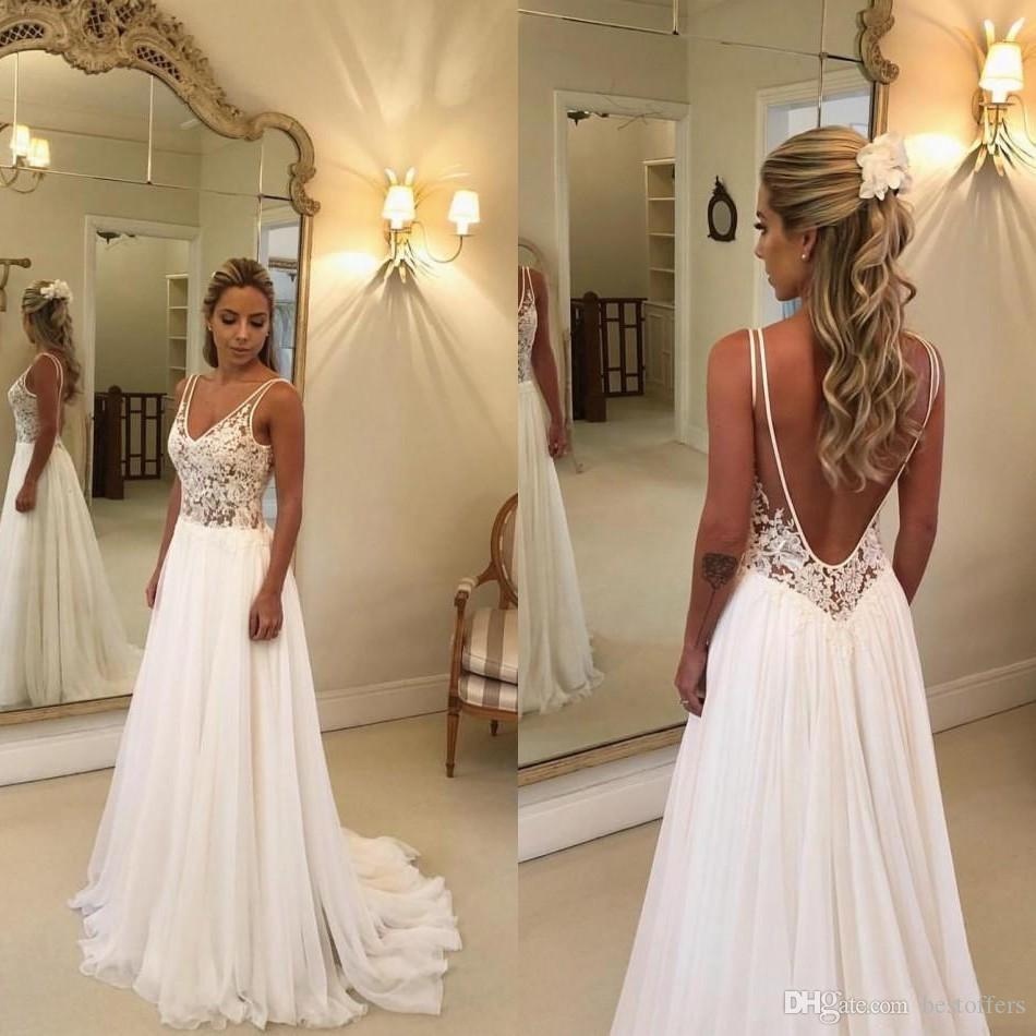 2020 Sexy Cheap Beach Wedding Dresses Lace Appliqued V Neck A Line Sexy Backless Boho Wedding Dress Sweep Train Custom Garden Bridal Gowns