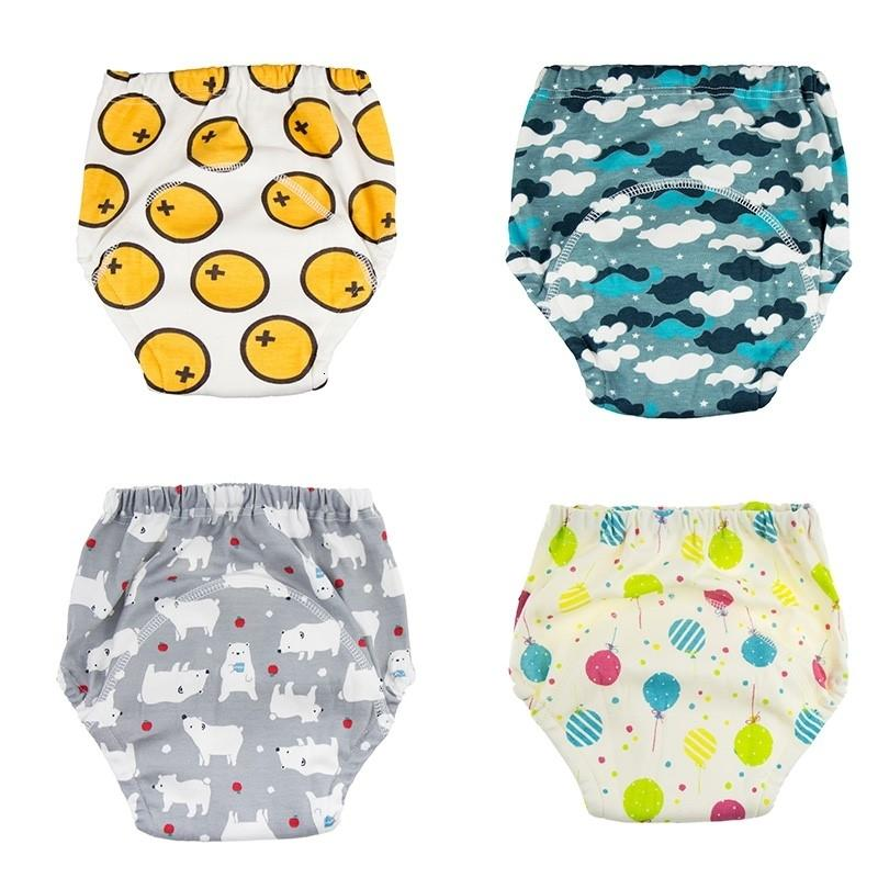 4 Pieces Baby Infant Toddler Waterproof Training Pants Cotton Changing Nappy Cloth Diaper Panties Reusable WashableMX190910