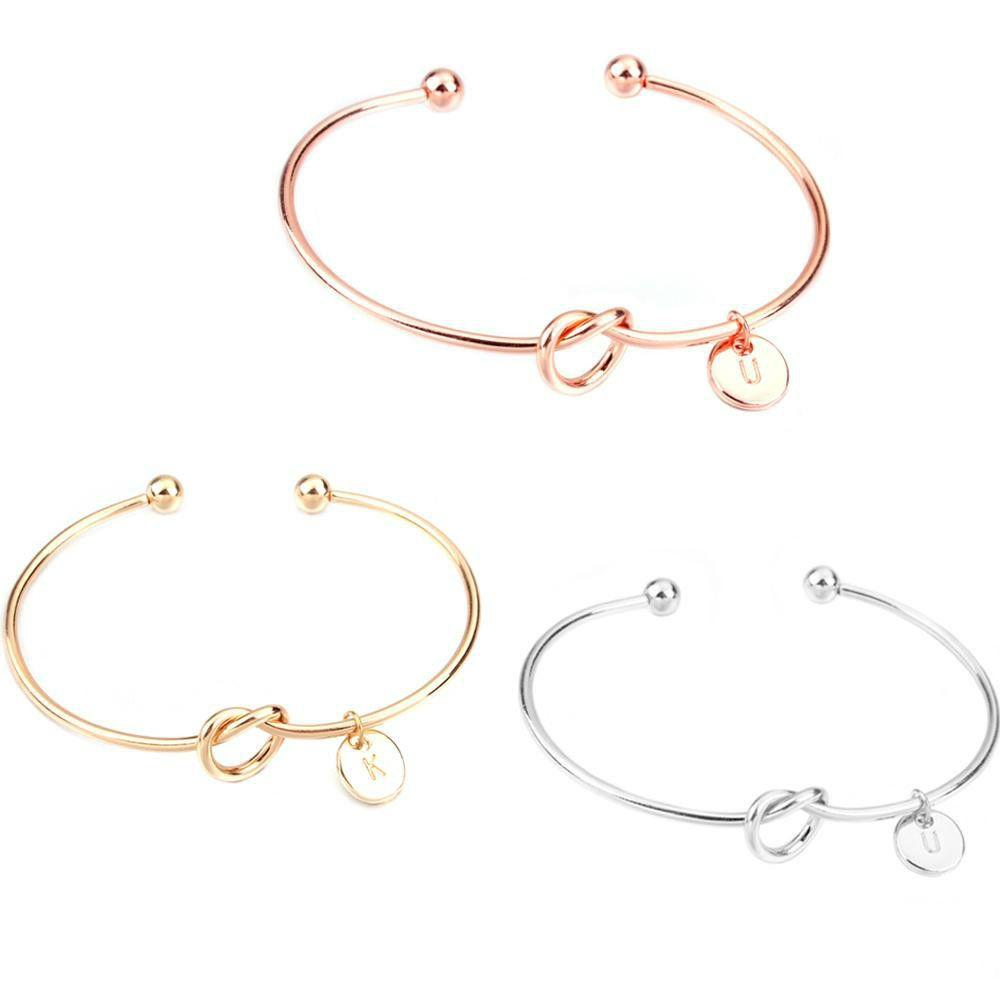 Pulseras del acoplamiento nueva Carta 26 joyería muchacha de Rose pulsera del brazalete de la plata del oro del color oro nudo corazón de la manera de aleación de zinc Ronda cadena colgante
