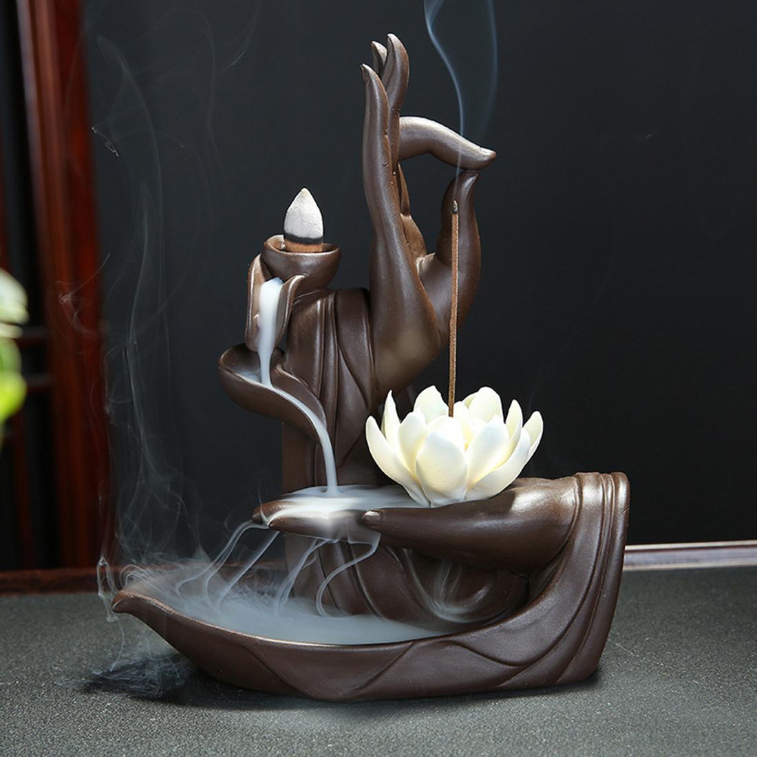 السيراميك ارتجاعي مبخرة Tathagata بوذا لوتس البخور المخاريط عصا حامل دخان شلال الإبداعية الرئيسية Bouddha ديكور
