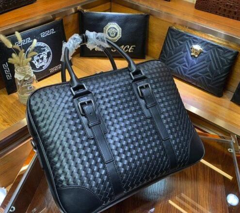 A mano a maglia di marca del progettista valigette nuove borse business di alta qualità di arrivo per uomini veri borse per notebook aziendali in pelle