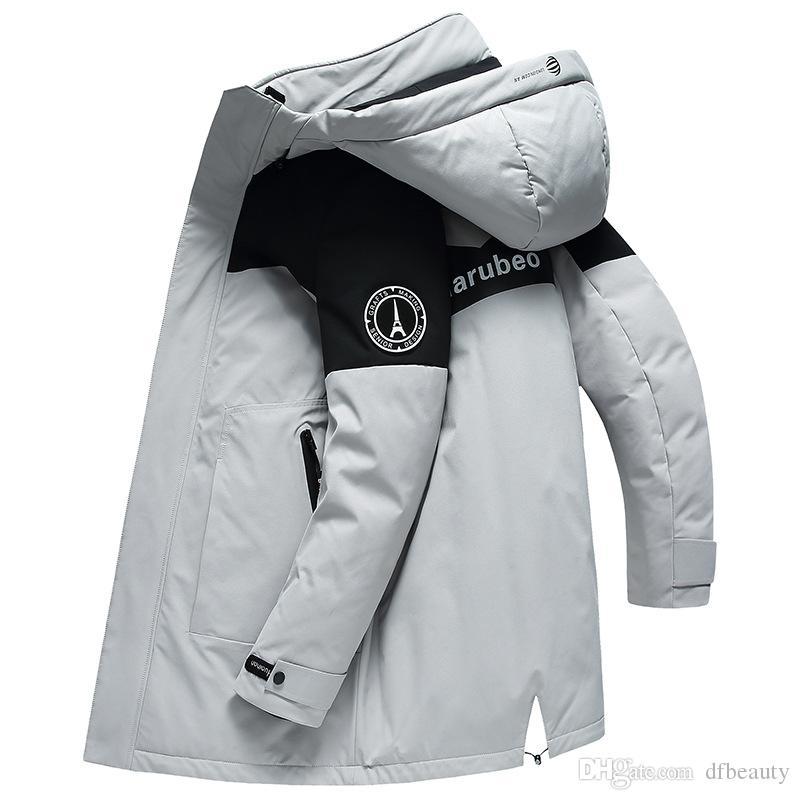 Grey Black Inverno novo tamanho longo dos homens encapuzados espessamento da juventude para baixo jaqueta casual jaqueta revestimento morno / parkas M-4XL