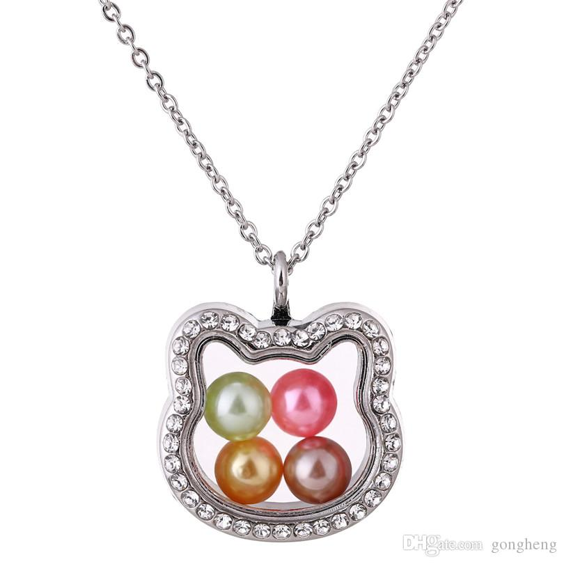 K1391 Silver Cat head Pearl Beads Cage With Rhinestone Magnetic Glass Floating Locket Pendants Women Charms Necklace