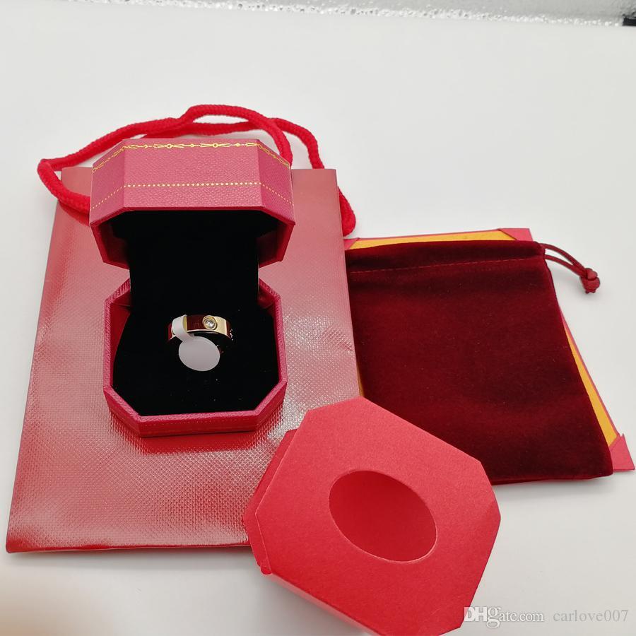 Anello in oro 18 carati in acciaio inossidabile con cristalli per anelli da donna Gioielli Anelli di fidanzamento in oro per donne fidanzate Impegno regalo con scatola