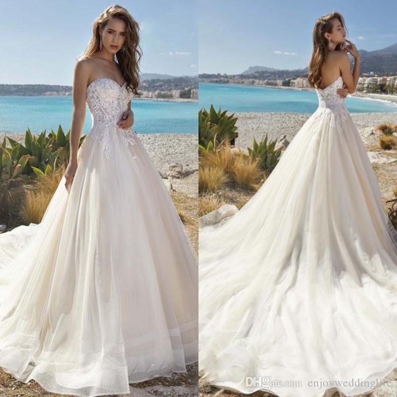 Новый элегантный бальное платье свадебное платье Boho Кружева Аппликации Милая Платье De Noiva Полная длина тюль Пляж Свадебные платья Настроить