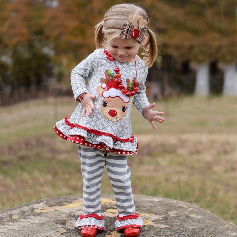 Retail kids designer tracksuits girls 2pcs Christmas suits set Long Sleeve Elk Top+Striped Pants Set New Year girls outifits boutique cloth