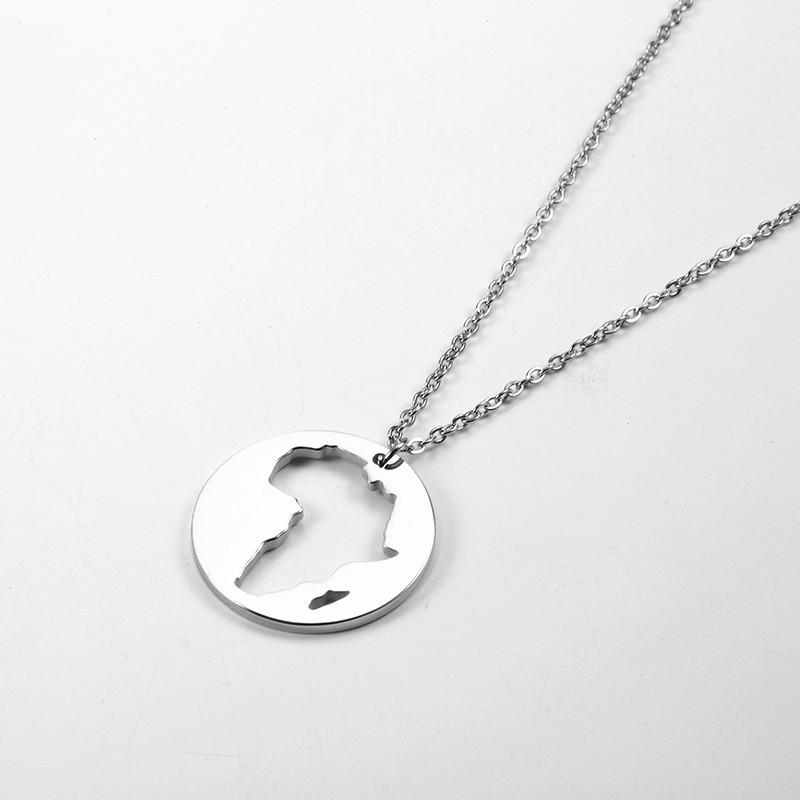 Sterling Silver Womens 1mm Box Chain Australia Country Continent Pendant Necklace