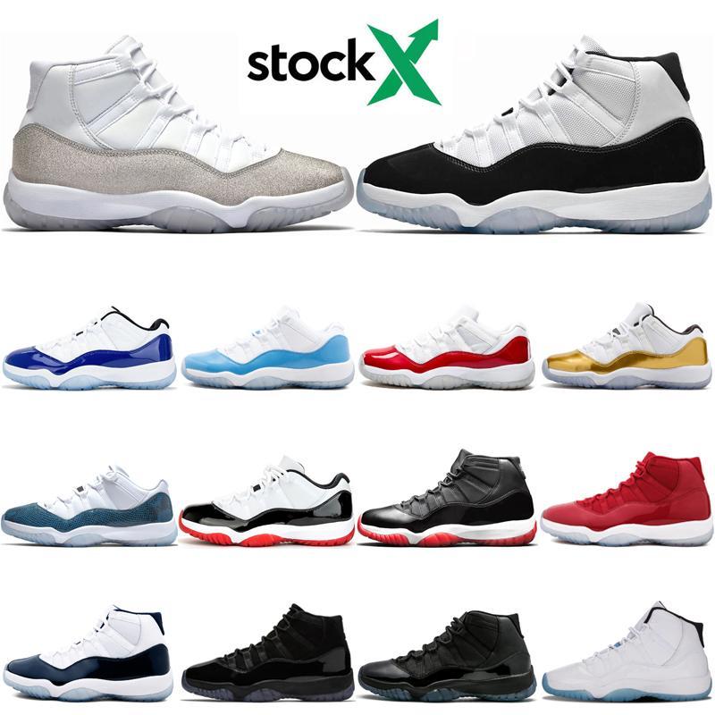 Top OG Baixo Branco Bred 11 11s Jumpman tênis de basquete Concord azuis 23 45 Metallic prata Legend sapatilhas do desenhista dos homens azuis Formadores