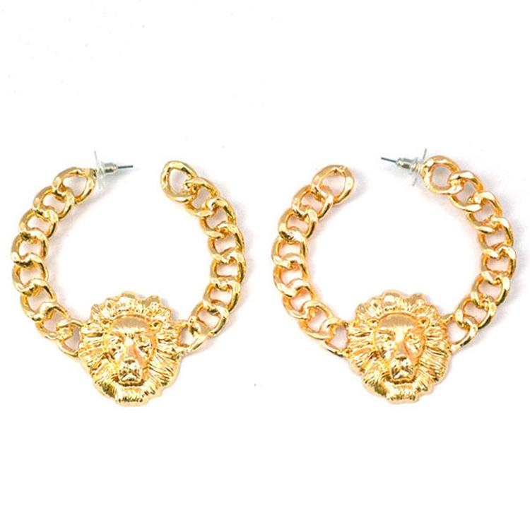 Hiphop Gold Lion Earring Fashion Europe and America Exaggerated High Quality Alloy Long Women's Lion Head Earrings Nightclub Equipment