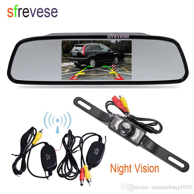 """7/"""" LCD Car Rear View Backup Mirror Monitor+Wired Reverse IR Camera System Kit"""