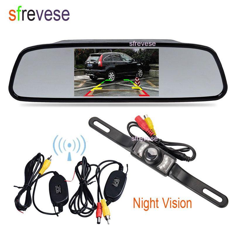 """4.3"""" TFT LCD de coches Espejo monitor + hilos del coche de opinión posterior del revés IR cámara de reserva de envío libre del kit"""