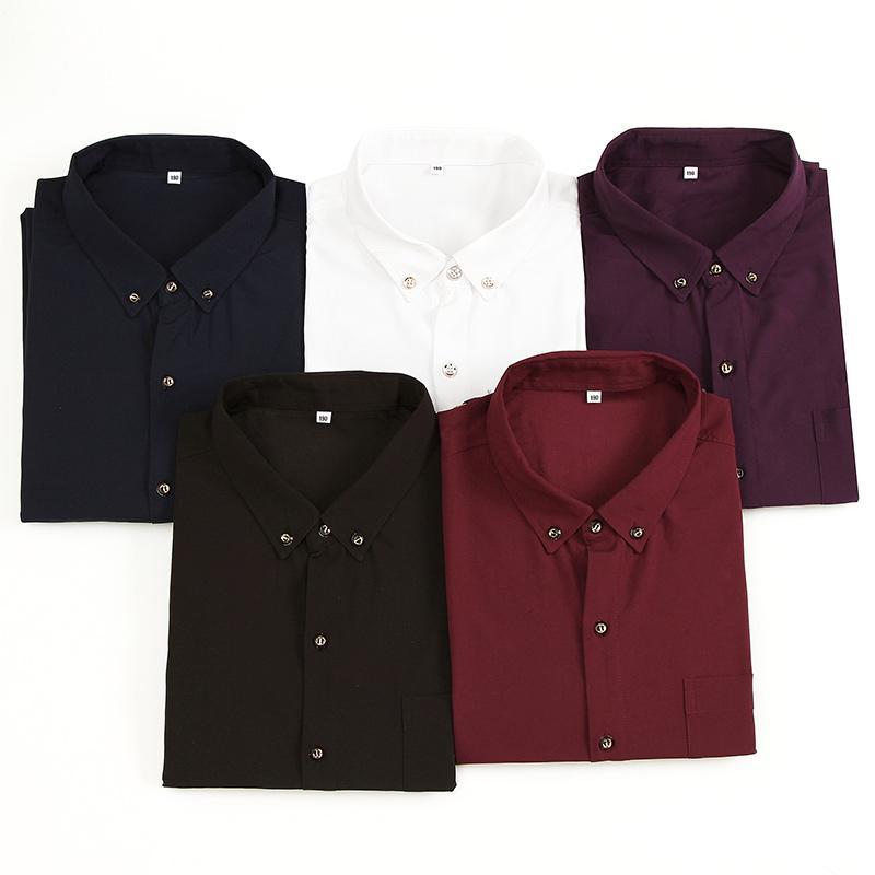 Plus size M-7xl 8xl 9xl 10XL men dress shirts long-sleeve Turn-down Collar Smart Casual shirts solid color men's tops