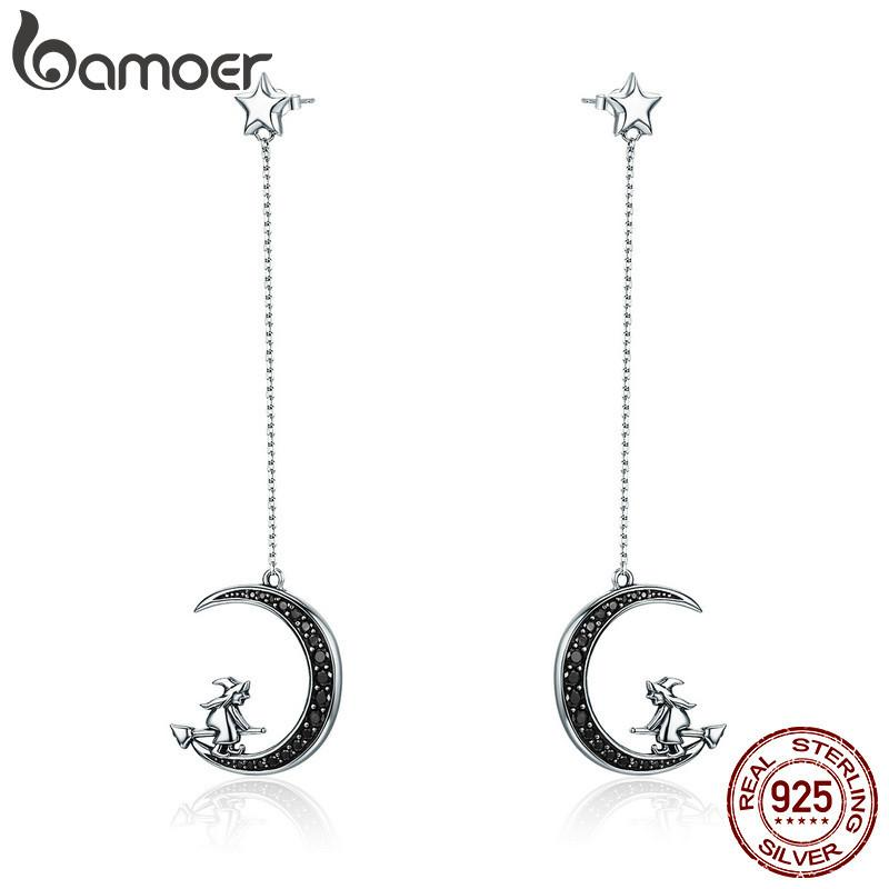 Echte 925 Sterling Silber Magie Hexe im Mondstern Schwarz CZ Lange Tropfen Ohrringe für Frauen Sterling Silber Schmuck SCE287 210512