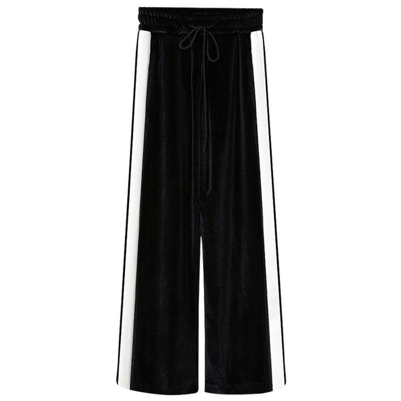 New Mulheres calças perna larga solto cintura elástica cor de costura de cintura alta de Femme Sports Calças Moda Casual Streetwear elegante