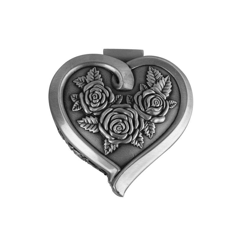 Classical Alloy Heart Shaped Jewelry Box Engraved Rose Pattern Metal Jewelry Case Trinket Box Wedding Favors