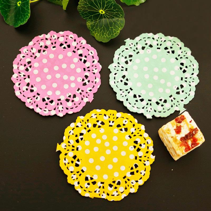 Mats & Pads Dots Paper Lace Doilies 3.5inch 8.8cm Round Decorative Tableware Placemats Cake Packaging Paper Pads Mats