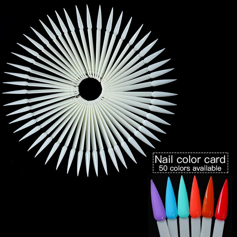 50 ADET Yanlış Nail İpuçları Doğa Şeffaf Siyah Fan Parmak Tam Kart Nail Art Display Uygulaması Akrilik UV Jel Lehçe Aracı Manikür