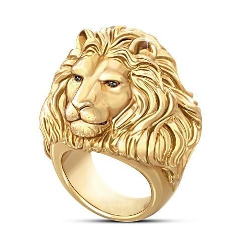 Testa di leone uomini anelli d'oro anello di fidanzamento per gli uomini di gioielli da sposa di nozze Anelli di accessori Dimensioni 7-12 spedizione gratuita