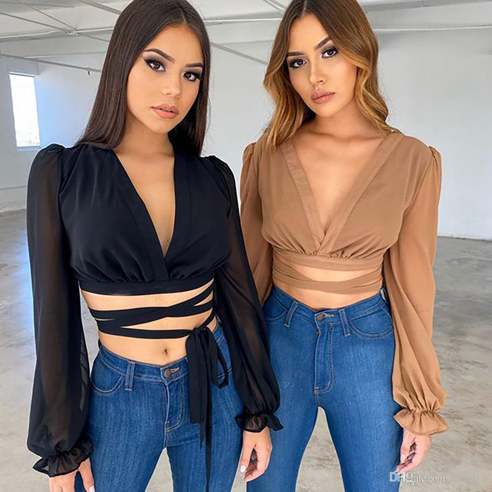 깊은 V 넥 푹신한 긴 소매 섹시한 여자 셔츠 봄 여름 캐주얼상의 2020 티 레이스와 여성 새로운 도착 쉬폰 T는 셔츠