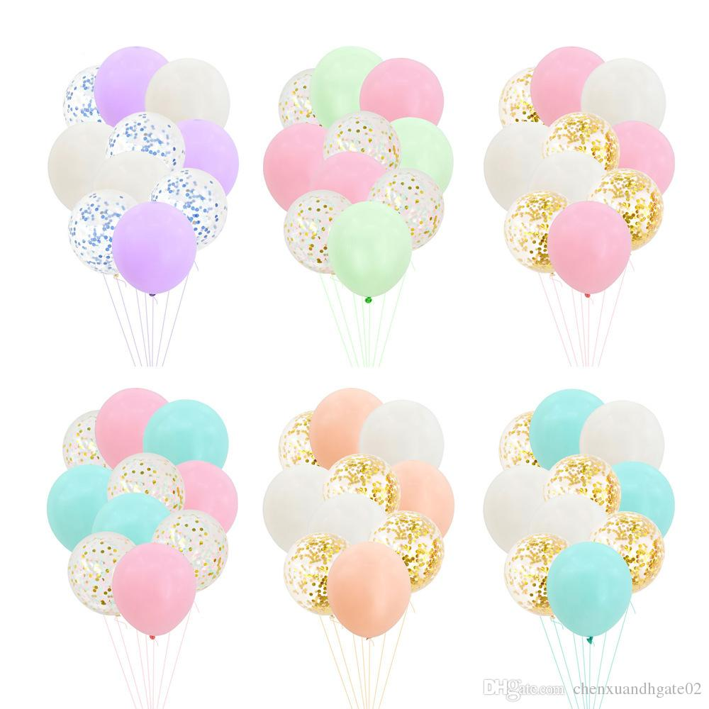 10PCS 12inch Colorful Latex Balloons Confetti Air Balloons Inflatable Ball Helium Balloon For Birthday Wedding Party Supplies