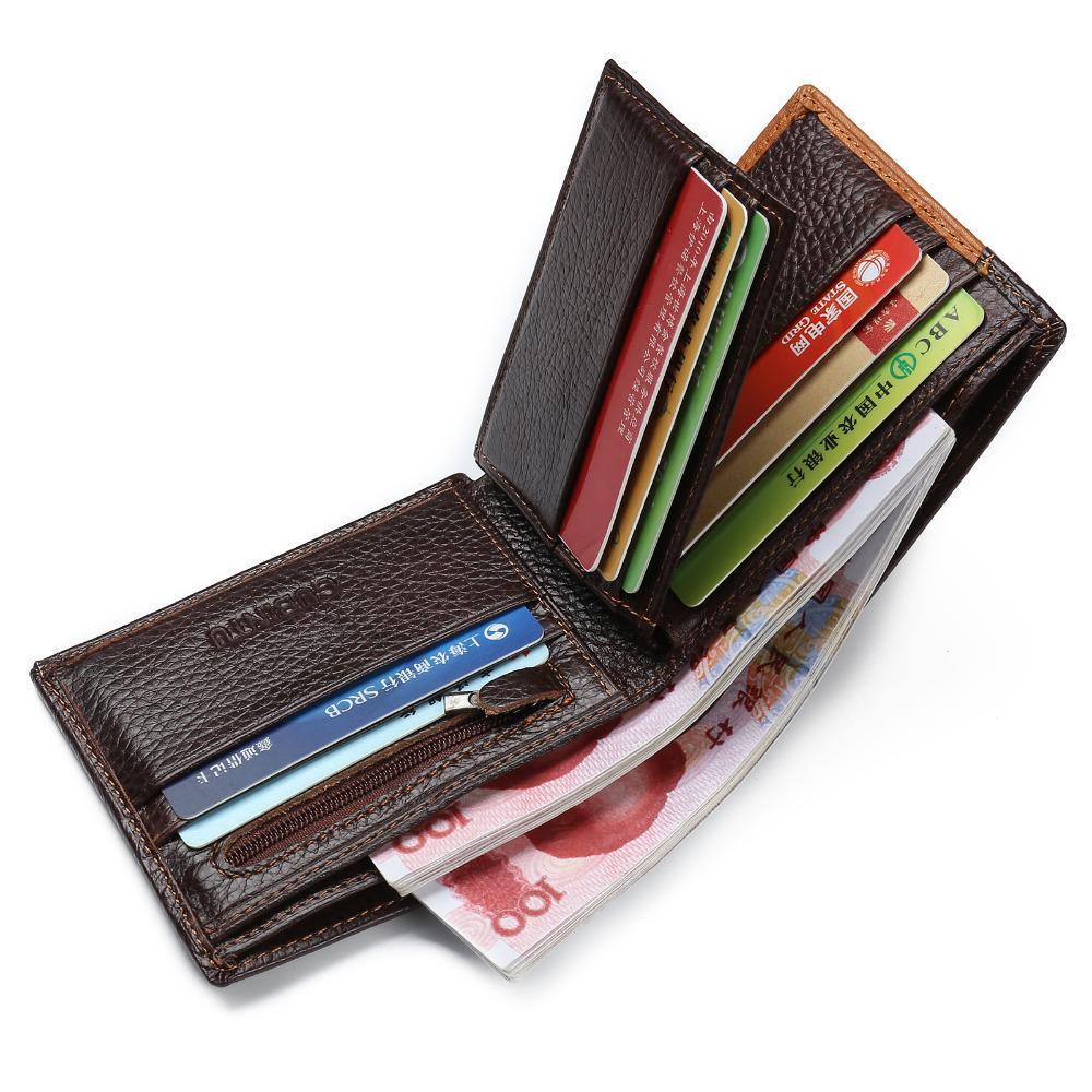 Monedero de cuero de piel de hombre Carteras Bolsillo de la moneda de la cremallera de los hombres con la cartera monedero cartera