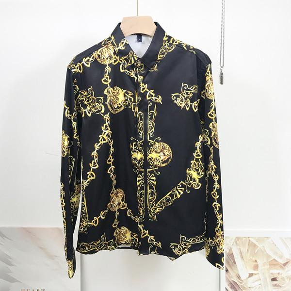 Brand New Mens Medusa рубашка с длинными рукавами 2019 Slim Fit платье рубашки Бизнеса Повседневные мужчины рубашкой # 455