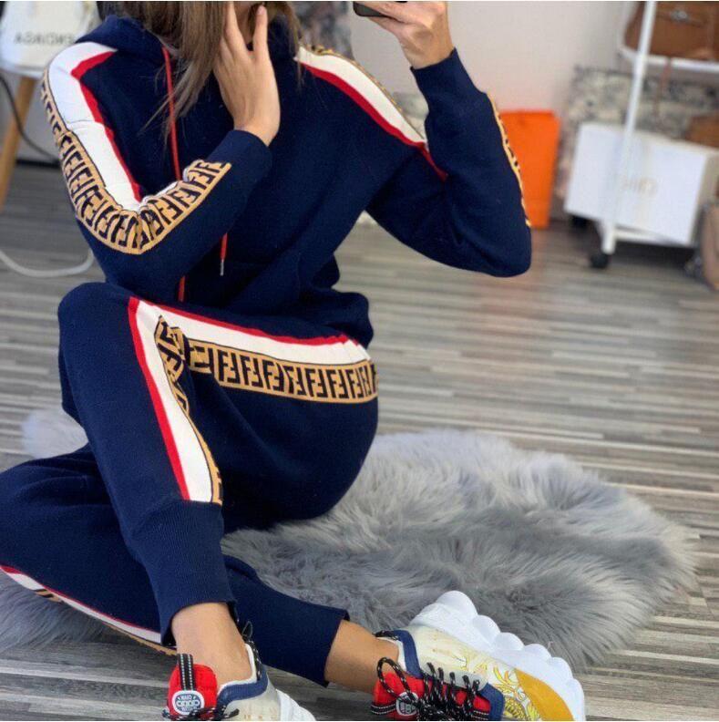 Les nouvelles femmes Vogue pièces sexy européens et américains femmes Side Stripe sports de loisirs deux COMBI Survêtements Sweats à capuche