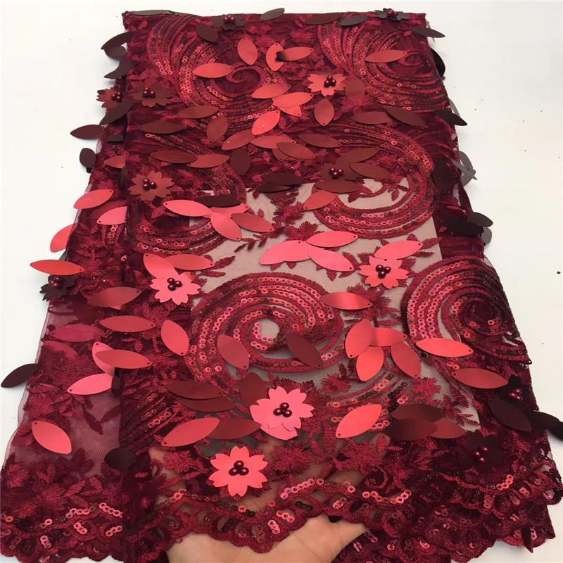 Madison Moda Francesa Laço Africano Tecido Guipure Com 3D Lantejoulas Algodão Tule Nigeriano Tissu Malha India Lace Para O Vestido de Noiva
