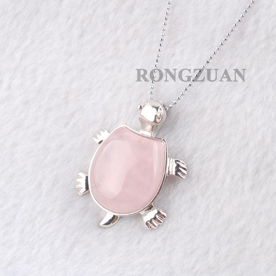 "Natural Rose Quartz gemstoneBead Turtle Pendants Jewelry Tortoise Shape Pendulum Pendant Necklace Classic Silver Plated Chain 18"" DN3729"