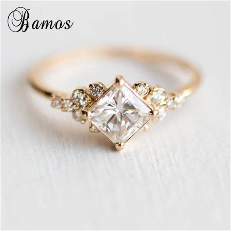 2020 Bamos Princess Cut Zircon Engagement Ring Vintage Gold Color Promise Wedding Rings For Women Simple Summer Jewelry Best Gift From Rocketer 8 26 Dhgate Com