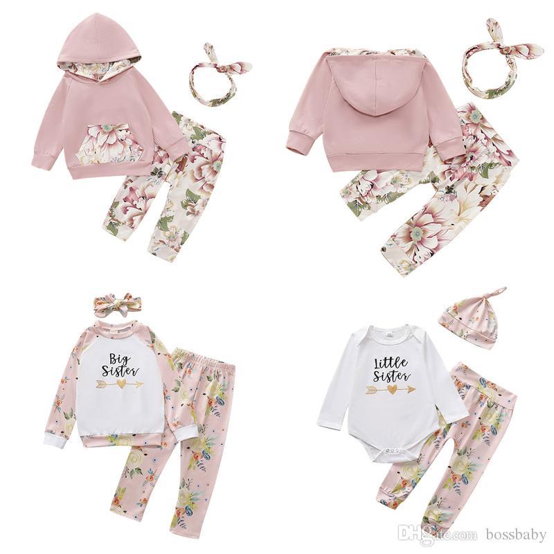 Infant Floral Sets filles Petite fleur de poche à capuche pour enfants Vêtements de loisirs tout-petits filles Lettre Cartoon Tops Chapeau Casual 06 Tenues