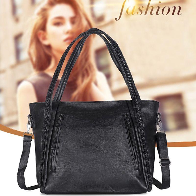 Solid Color Classic Ladies Pu Bag Large Capacity Shoulder Bag Multi-function Elegant Ladies Handbag