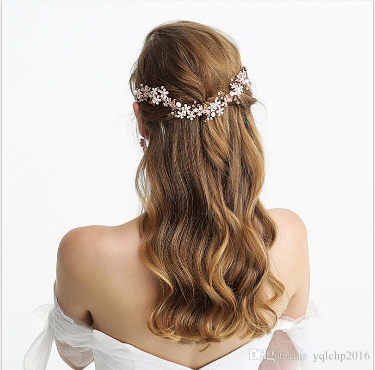 Oro rosa con copricapo da sposa con perle Gioielli fatti a mano da matrimonio fai da te