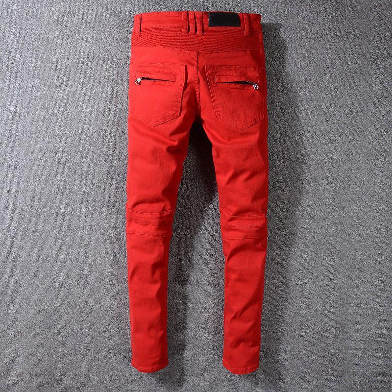 Nueva Moda hombre de los vaqueros para hombre desteñida Zipper Jeans Hip Hop rasgado Pantalones vaqueros rojos del tamaño 29-42