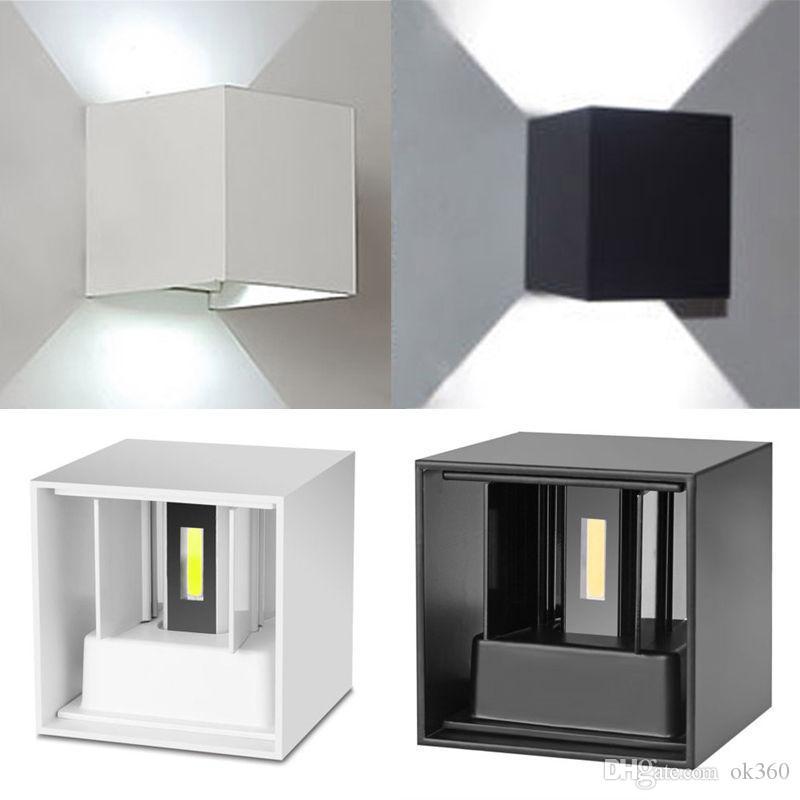 12W à prova d'água de superfície AC85-265V Montado LED Wall Luz Moderno Nordic Luminaire Indoor Outdoor Lâmpadas de parede Sala Porch