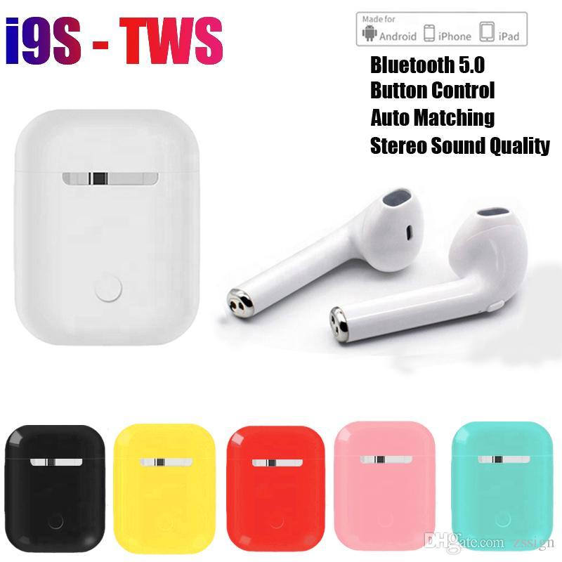 상자를 충전으로 모든 전화에 대한 I9S TWS 무선 블루투스 5.0 이어폰 헤드폰으로 팝업 창 스테레오 TWS 이어폰