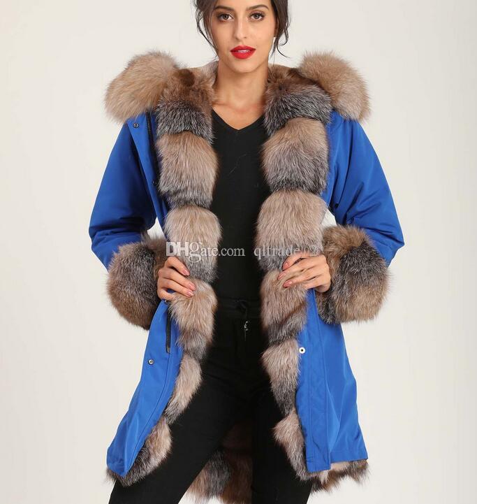 mavi uzun kadınları astar Yüksek kaliteli kahverengi tilki Eşik kürk MUKLA DABAKLANMIS marka haki beyaz şerit tavşan kürk manşet kürk parkalar