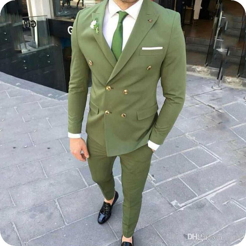 Green Groom Tuxedos Men Suits for Wedding Man Suit Blazers Summer Newest Fashion Double Breasted Jacket Wide Peaked Lapel 2Piece(Coat+Pants)